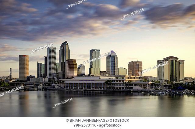 Dawn over the skyline of Tampa, Florida, USA