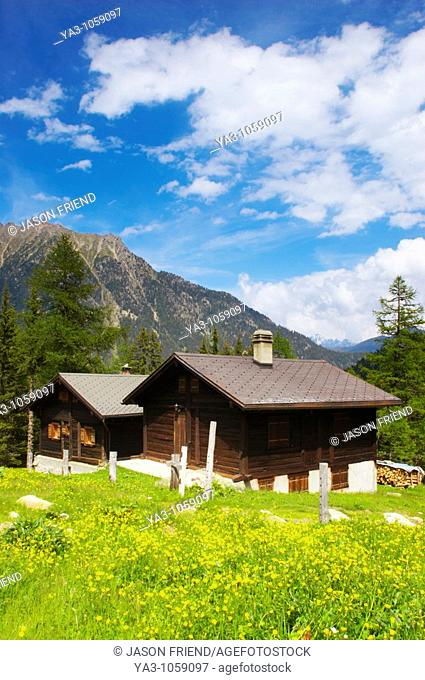 Switzerland Valais Val d Arpette Log cabins in a wild flower meadow in the Val d arpette