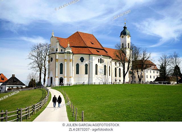 Germany, Bavaria, Romantic Road (Romantische Strasse), Weilheim-Schongau, Steingaden, Wieskirche or Pilgrimage Church of Wies
