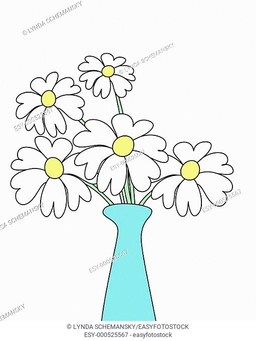 White daisies in an aqua vase