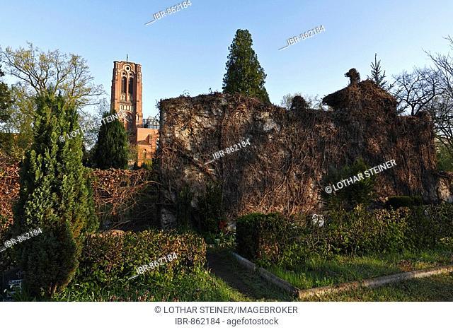 Auferstehungskirche Church, rear side of a tomb, cemetery, Friedrichshain, Berlin, Germany, Europe