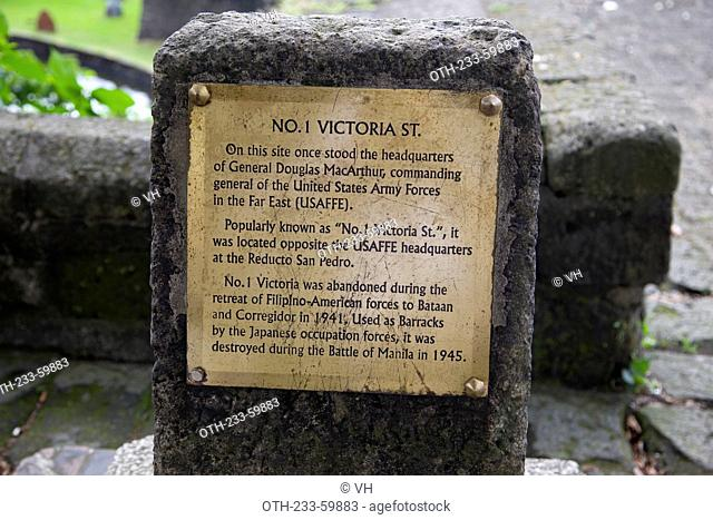 Plaque of No. 1 Victoria St., Intramuros, Manila, Philippines