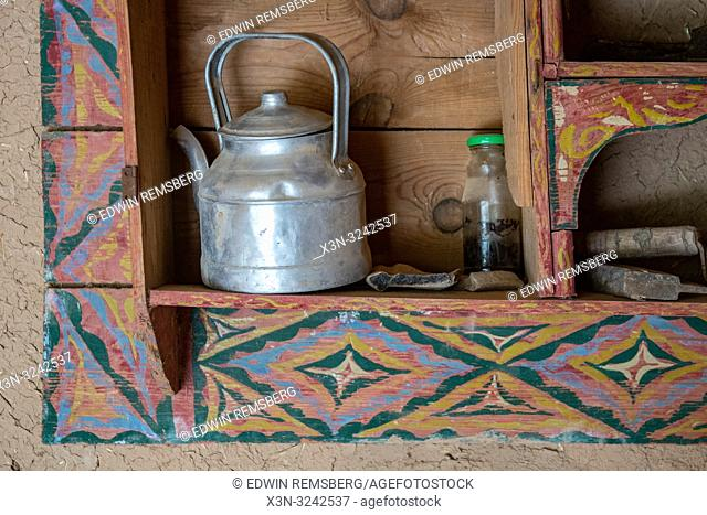 Teapot sits in built in shelf, Tighmert Oasis, Morocco