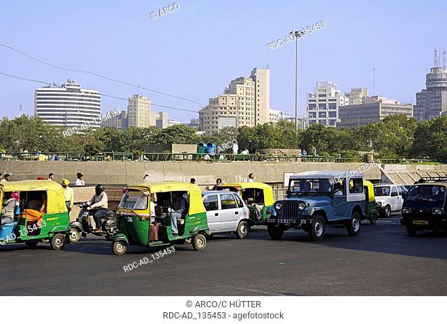 Auto rickshaws and cars New Delhi India New Dehli