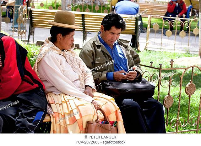 Aymara Couple On Plaza 10 De Febrero, Oruro, Bolivia
