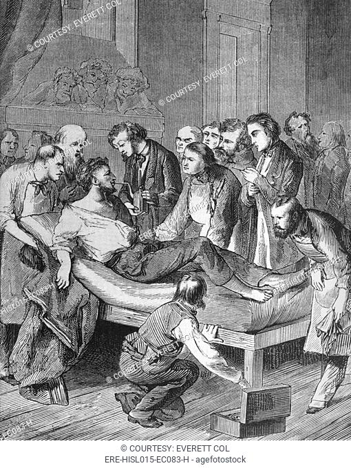 First administration of ether to a patient, Gilbert Abbott, about to undergo surgery for a tumor in the neck at Massachusetts General Hospital on October 16