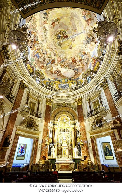 Altar and dome of the church of the Basilica of the Virgin of the Desamparados, Valencia, Spain