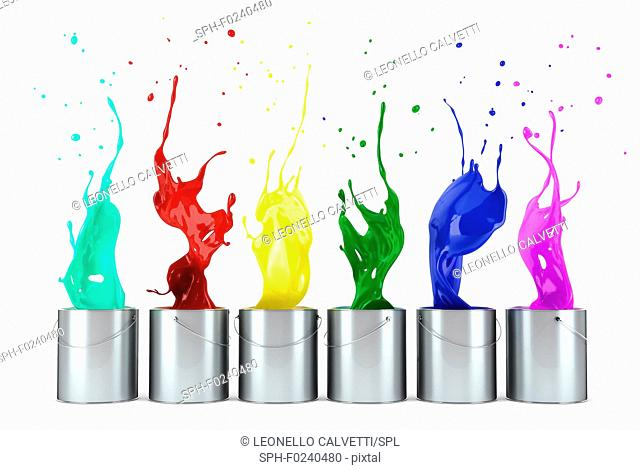 turquoise, red, yellow, green, blue, pink paints splashing out from metallic silver buckets in line. On white background