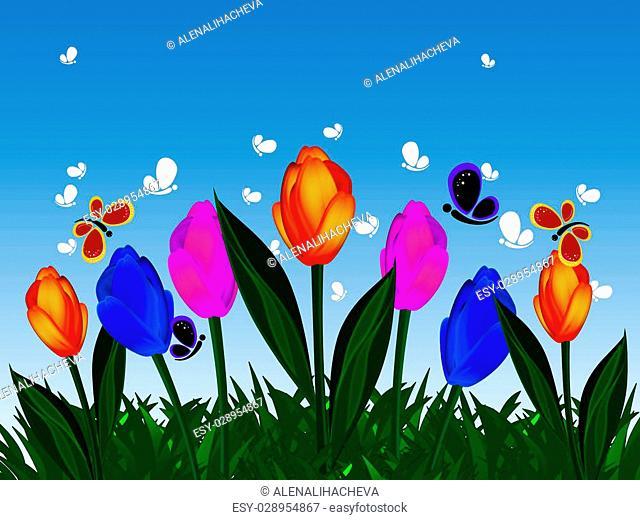 Horizontal format. Grass, flowers, butterflies in the sky