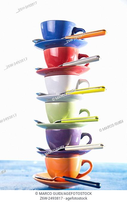 Kitchen accessories, colored tower of cups of coffee