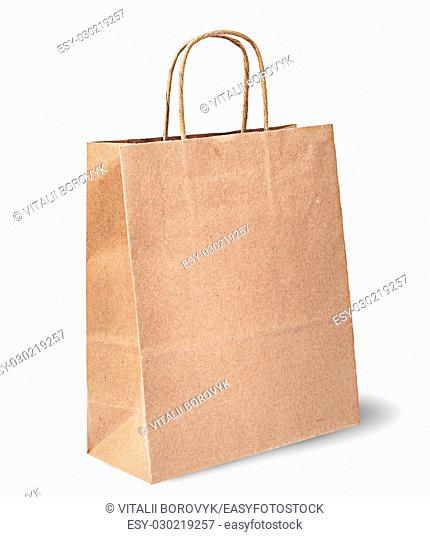 Empty open brown paper bag for food vertically isolated on white background