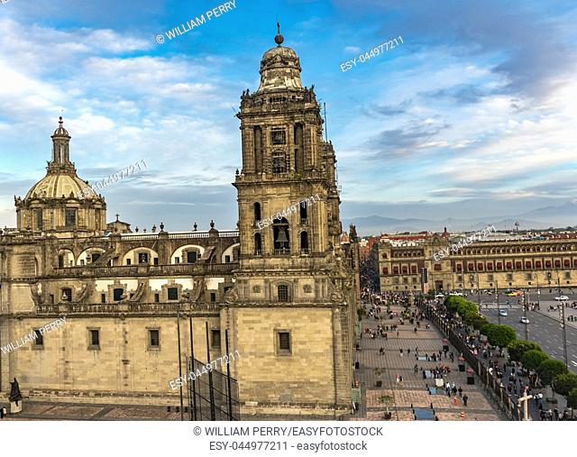 Metropolitan Cathedral and President's Palace Zocalo, Center of Mexico City Mexico Afternoon