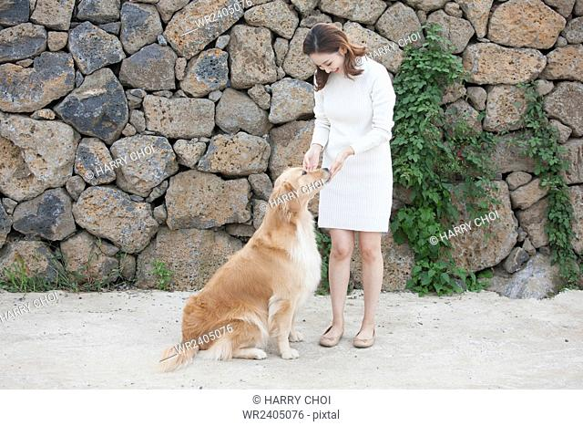Woman standing and touching her dog near the stone wall outside in Jeju