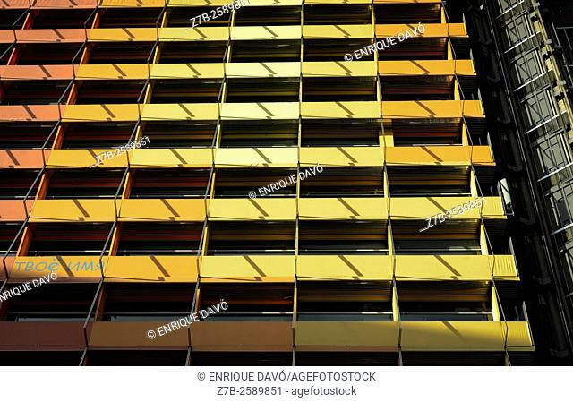 A yellow windows view of the Silken hotel in Madrid city, Spain