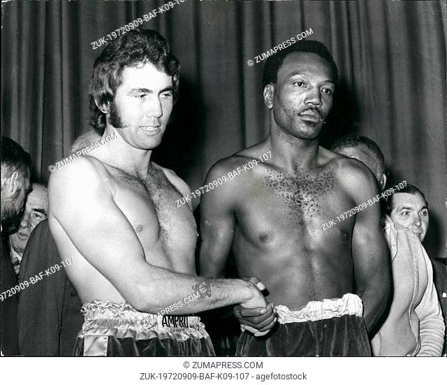 Sep. 09, 1972 - Foster And Finnegan Weigh-In: Bob Foster, the coloured American from Albuquerque, New Mexico, tonight defends his world light heavyweight title...