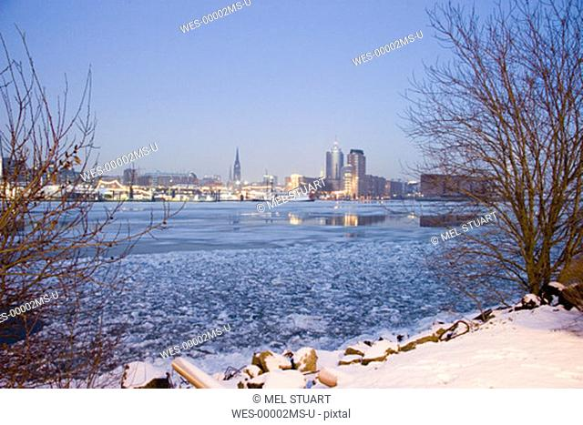 Germany, Hamburg, Elbe river, View of St. Nicolai church and Hanseatic trade centre