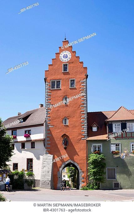 Clock tower, Meersburg on Lake Constance, Bodenseekreis, Upper Swabia, Baden-Württemberg, Germany