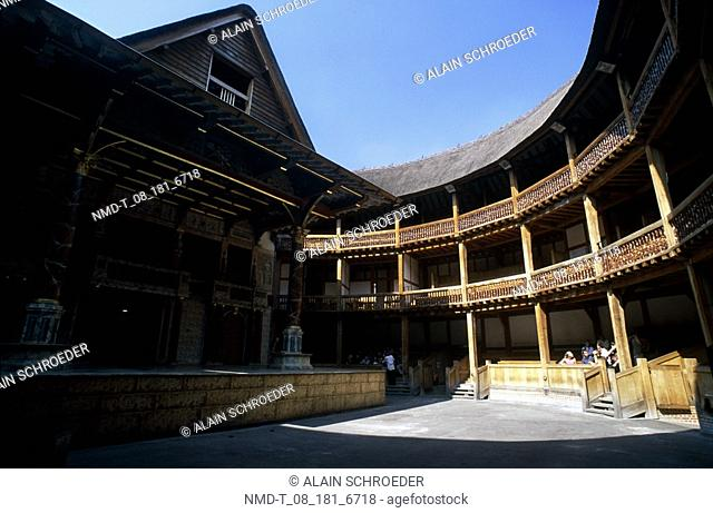 Courtyard of a building, Shakespeare's Globe Theatre, Bankside, Southwark, London, England