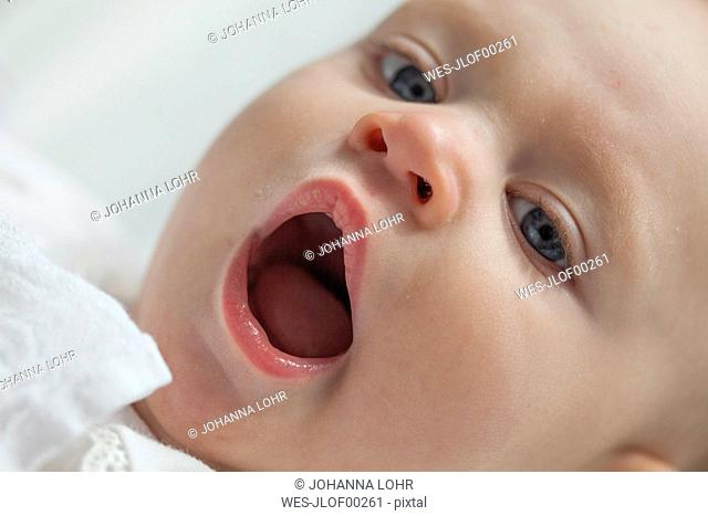 Portrait of yawning baby girl, close-up