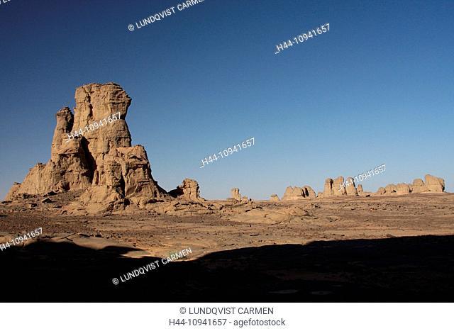 Algeria, Africa, north Africa, desert, sand desert, Sahara, Tamanrasset, Hoggar, Ahaggar, rock, rock formation, Tassili du Hoggar, nature