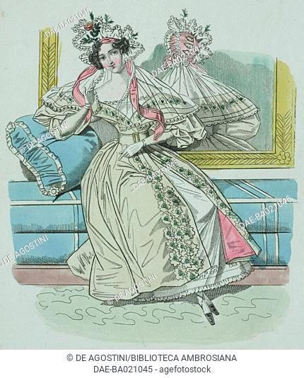 Woman wearing a light green dress decorated with floral patterns and lace headdress adorned with pink ribbon and veil falling over her shoulders, plate 24