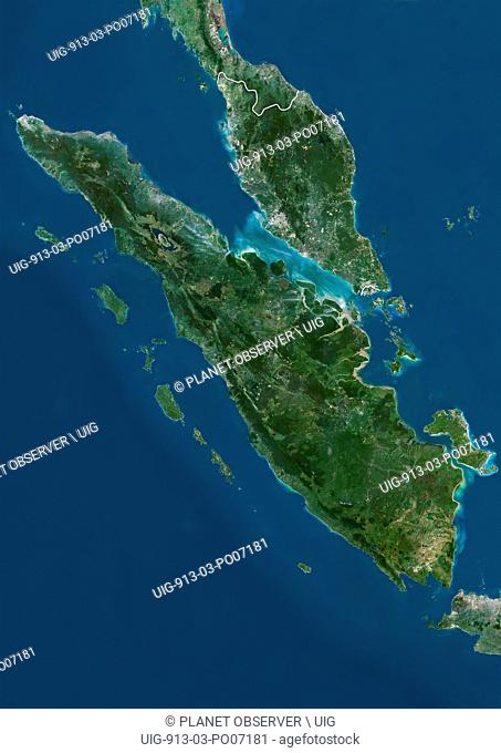 Satellite view of Sumatra, Malaysia and Singapore (with country boundaries). This image was compiled from data acquired by Landsat satellites
