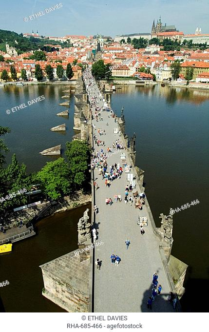 View overlooking Charles Bridge towards Mala Strana, Prague, UNESCO World Heritage Site, Czech Republic, Europe