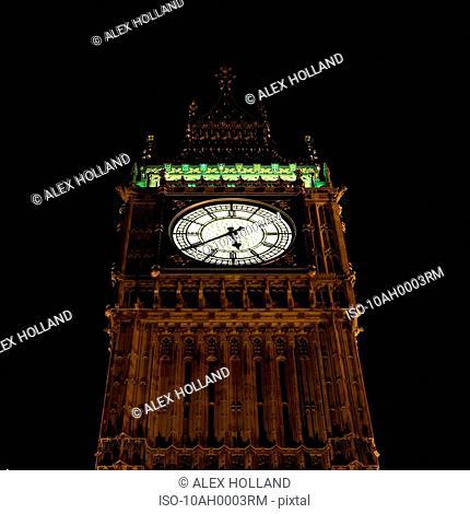 Big Ben clock tower at night