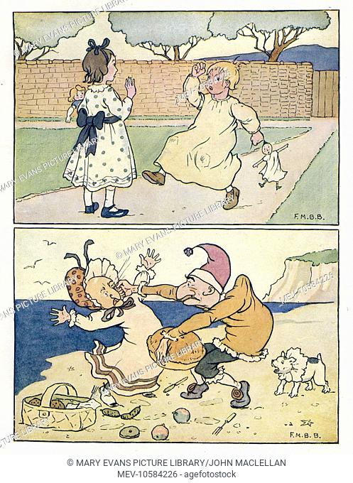 Nursery Rhymes -- two illustrations. Above -- a girl and a boy in a garden, with dolls. Below -- Mr Punch hits Judy on a beach, watched by his dog Toby