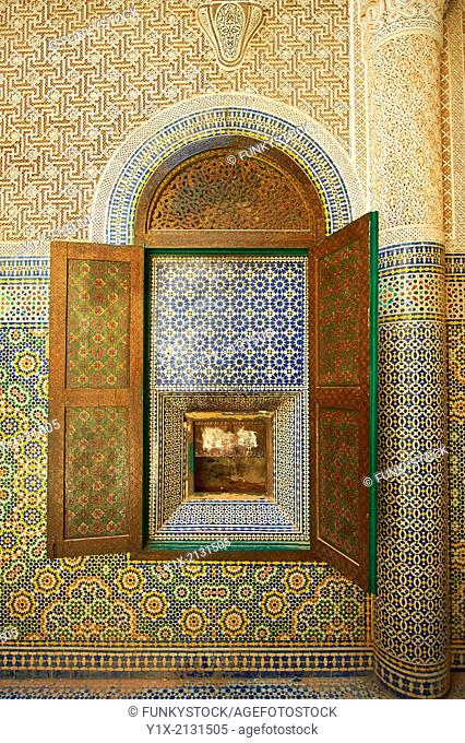 Berber Zellige decorative tiles inside the Riad of the Kasbah Telouet, Atlas Mountains, Morocco