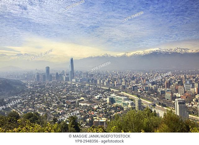 Skyline of Santiago with Costanera Tower and Andes in the background, Las Condes commune, Santiago, Chile