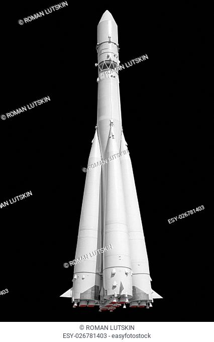 Russian space rocket isolated on black background