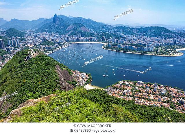 View over Botafogo and the Corcovado from the Sugar Loaf Mountain, Botafogo, Corcovado, Rio de Janeiro, Rio de Janeiro State, Brazil