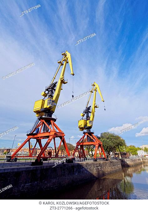 Argentina, Buenos Aires Province, City of Buenos Aires, Old port cranes in Puerto Madero