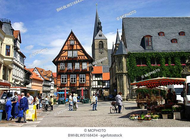 market place with market stands, Germany, Saxony-Anhalt, Quedlinburg
