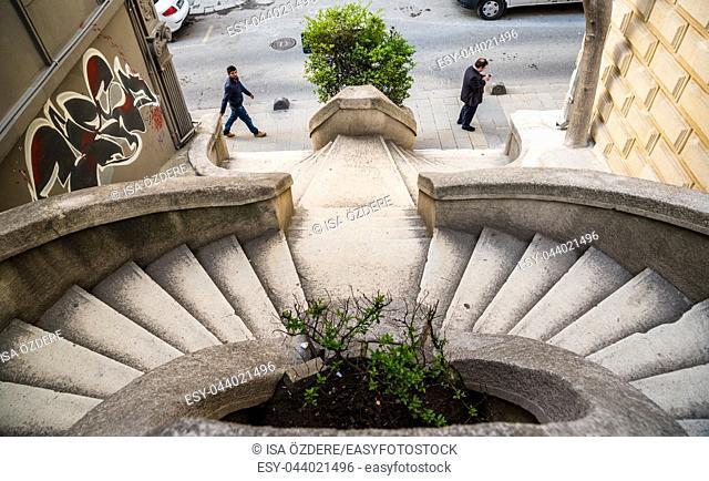 Ancient semi circular Comodo stone stairs in ISTANBUL, TURKEY, APRIL 22, 2017