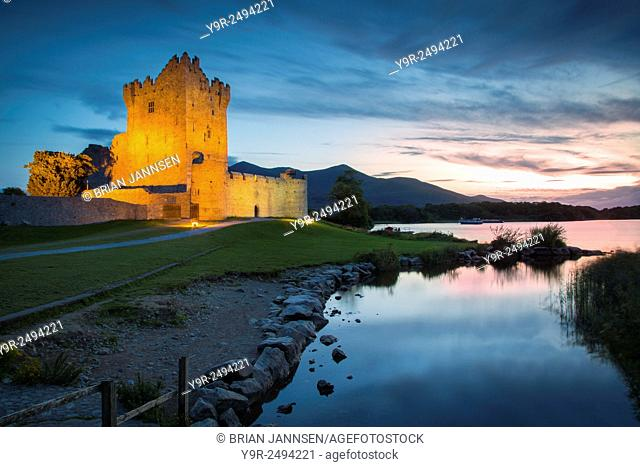 Twilight over Ross Castle (b. 15th Century) on Lough Leane near Killarney, County Kerry, Ireland
