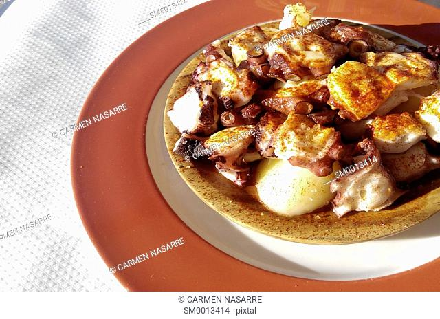 Octopus with potatoes dish, Galicia
