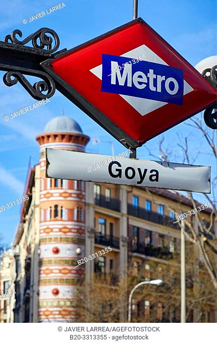 Entrance to the metro, Goya Station, Alcalá Street, Madrid, Spain, Europe