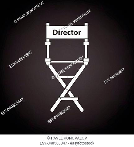 Director chair icon. Black background with white. Vector illustration