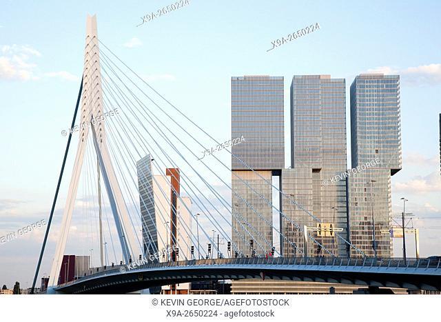Erasmus Bridge - Erasmusbrug and de Rotterdam Building, Rotterdam; Europe