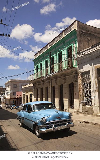 Old American car used as taxi in the city center, Cienfuegos, Cienfuegos Province, Cuba, Central America
