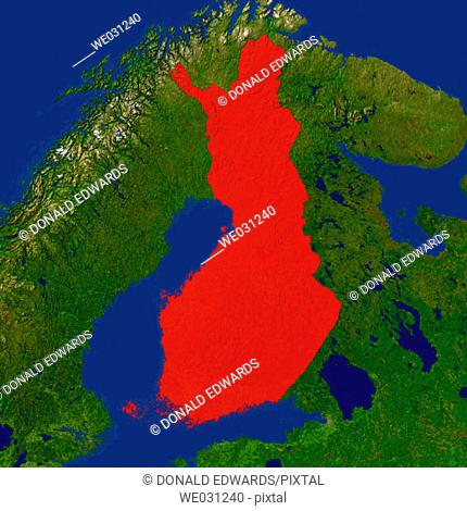 Highlighted satellite image of Finland