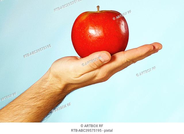 Close-up of a man's hand holding an apple