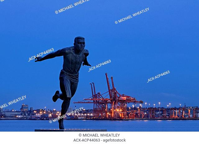 Harry Jerome statue and the Port of Vancouver from Stanley Park, Vancouver, British Columbia, Canada