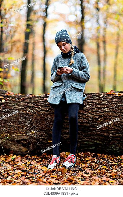 Girl using smartphone on tree trunk in autumn forest