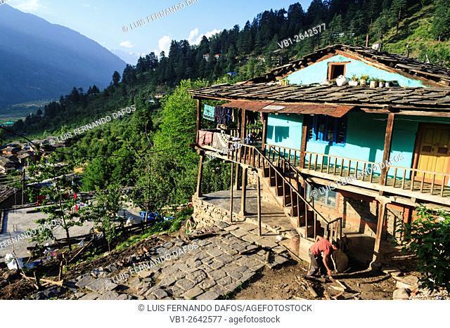 Traditional Himachali architecture. Nagar, Himachal Pradesh, India