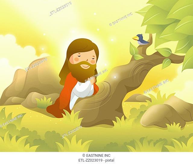 Jesus Christ kneeling and praying