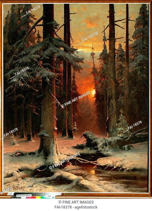 Snow in Forest. Klever, Juli Julievich (Julius), von (1850-1924). Oil on canvas. Realism. 1885. Regional I. Kramskoi Art Museum, Voronezh. 156,5x120
