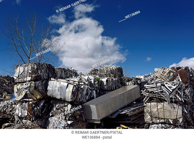 Piles of crushed cubes of recycled scrap metal with blue sky clouds and tree